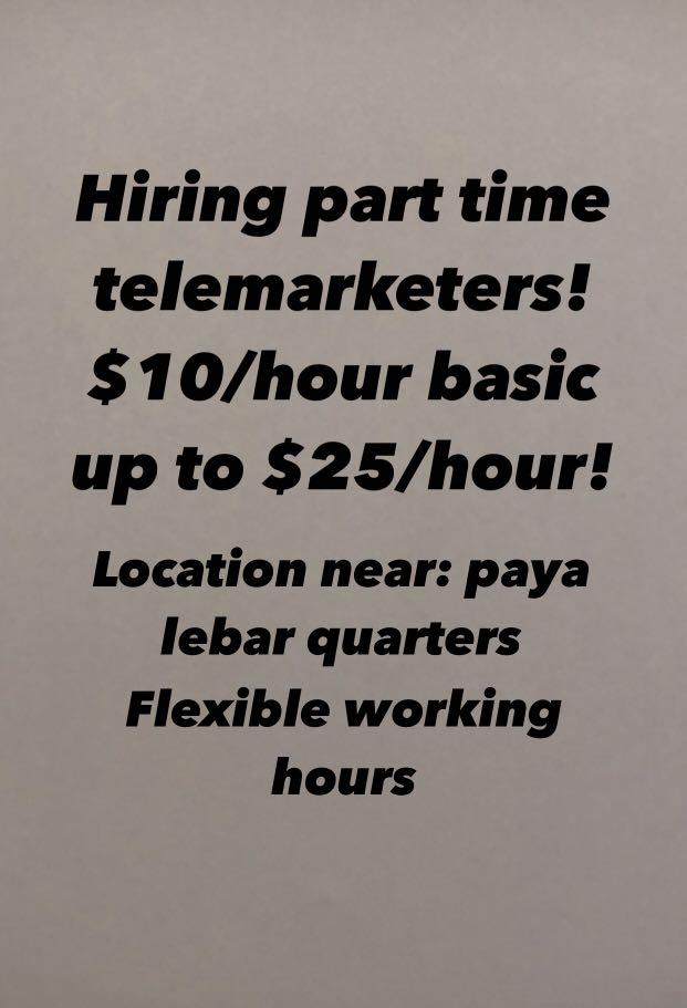 Part time telemarketers