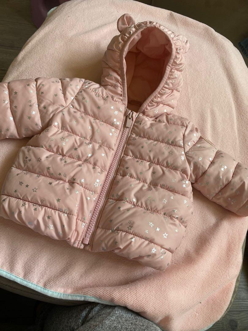 Pink silver star puffer jacket