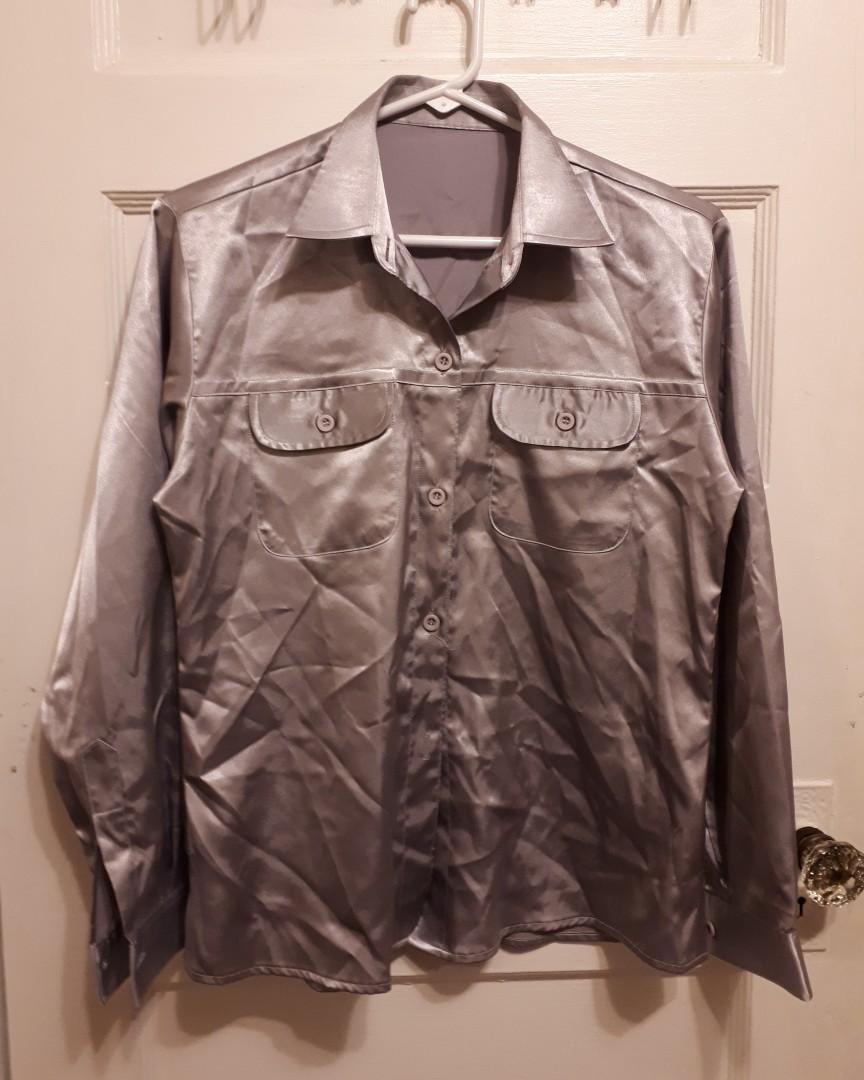 Silver Silk Button Up Long sleeve