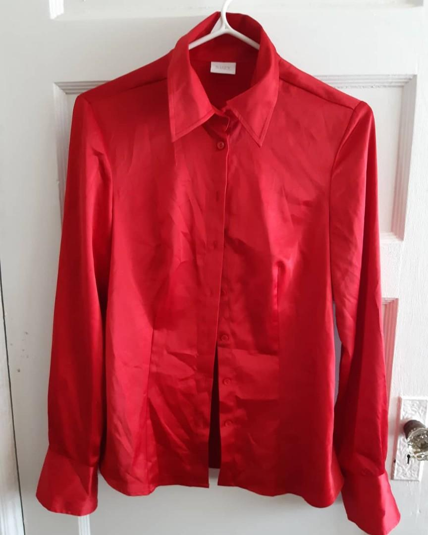 Suzy Silk Red Button Up Shirt