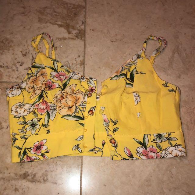 yellow floral button up top