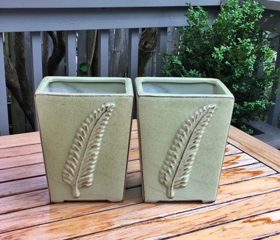 2 beautiful NEW crackle glaze finish Fern pots in a soft sage green from Strasbourg,France