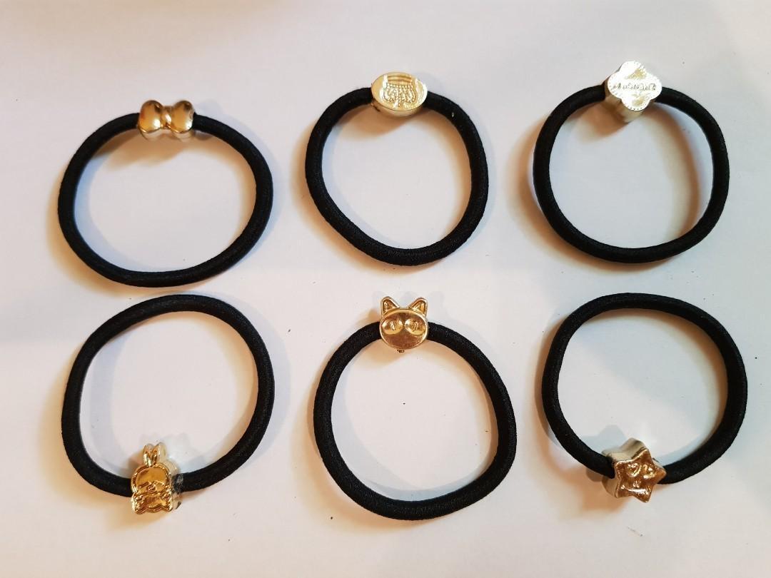 免費贈送15條 韓版橡皮筋髮圈 金珠髮圈