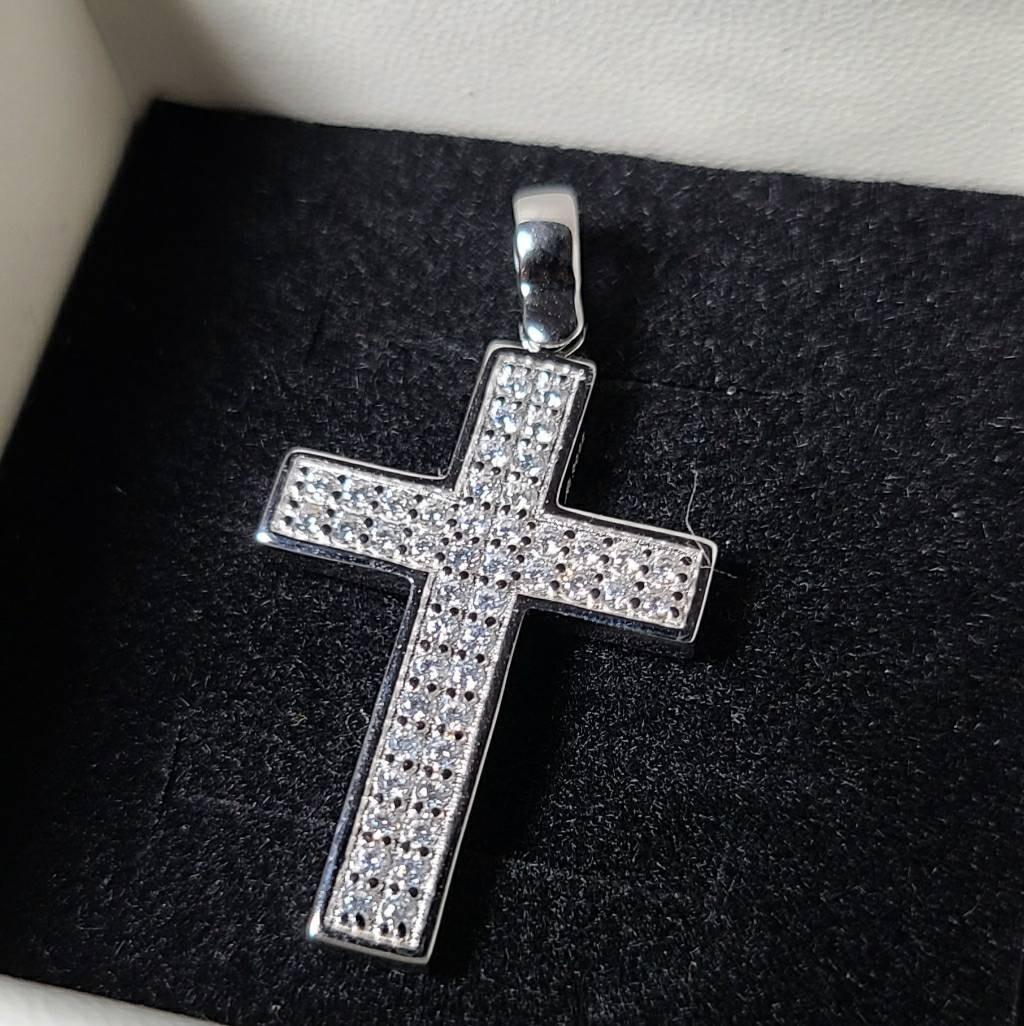 .5 carat  14k white gold diamond cross pendant with necklace
