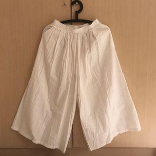 近全新|民族風白色闊腿褲寬褲