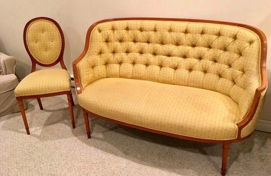 ⭐️ANTIQUE French Provincial satinwod tufted settee and matching chair(CIRCA Late 1800's)⭐️