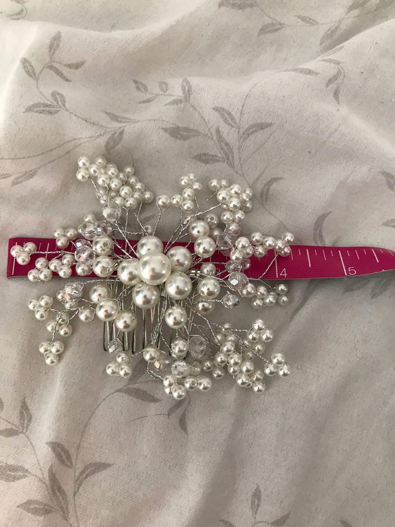 Pearl bridal prom grad party hair comb piece