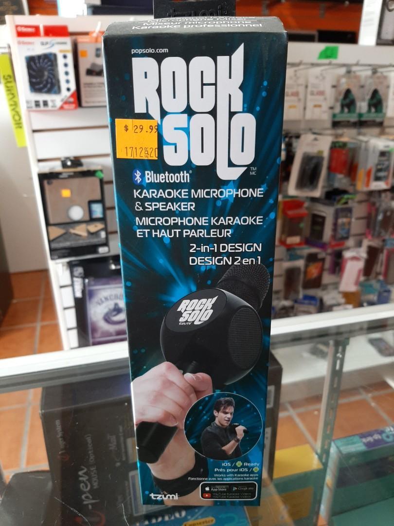 Rock Solo Karaoke Microphone Speaker Bluetooth - BLACK (5279-BLK)