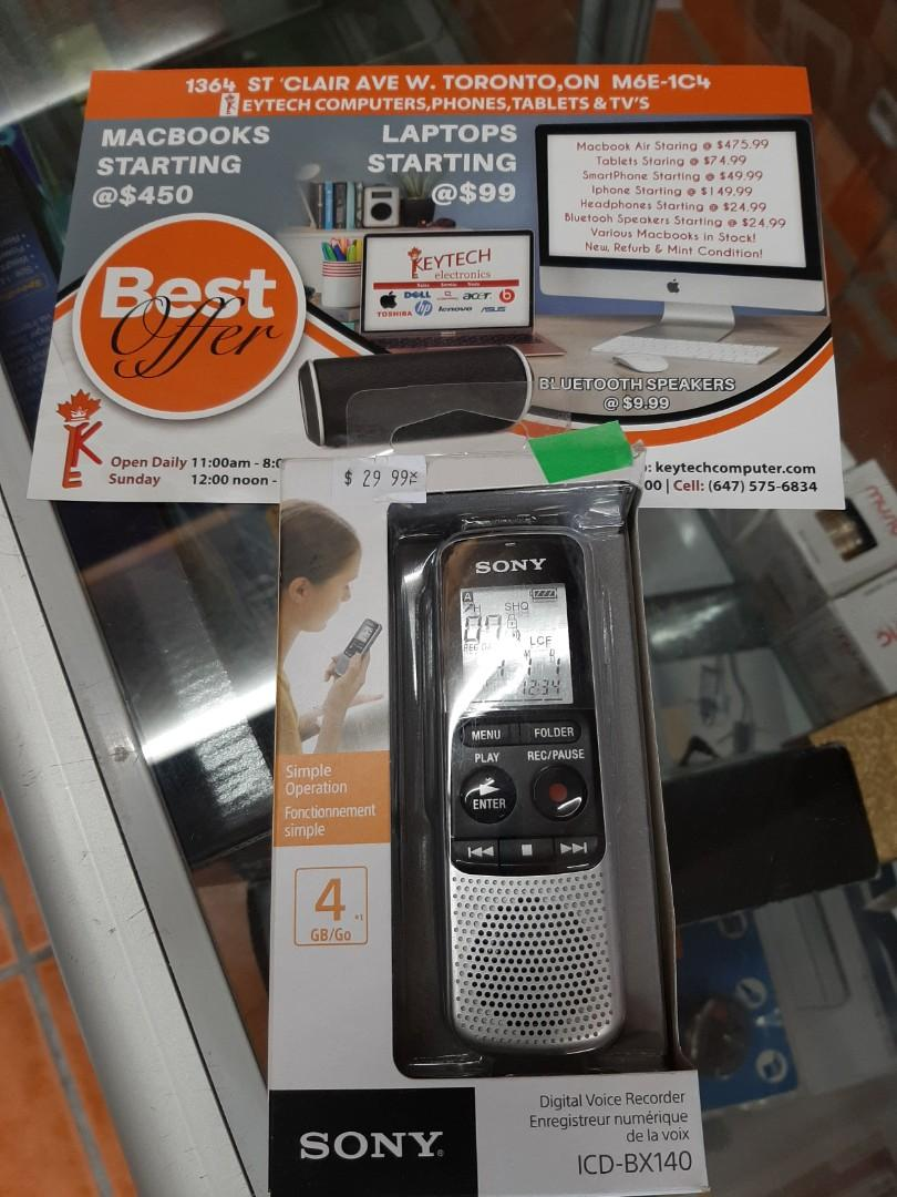 Sony ICDBX140 Digital Voice Recorder open box