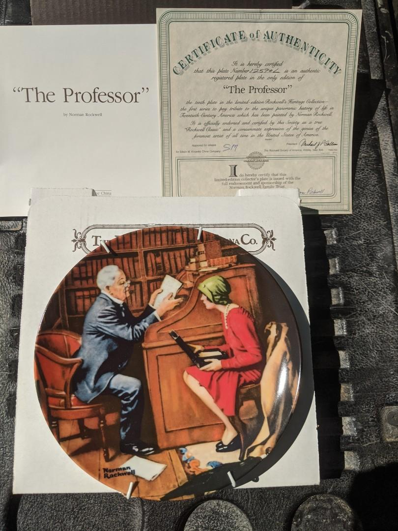 The Professor Norman Rockwell China plate