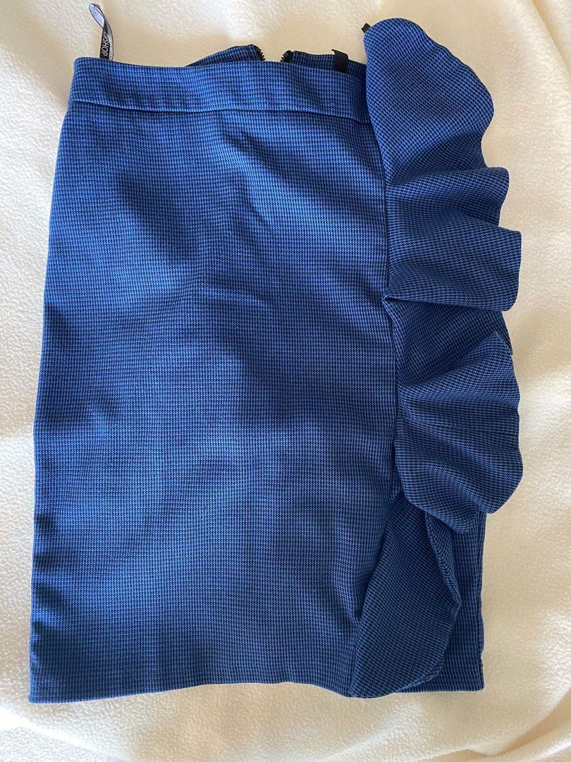 Topshop skirt blue and black houndstooth