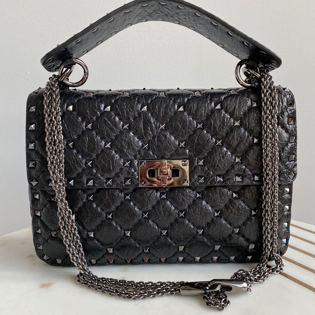 Valentino Black Medium Rockstud Spike Bag