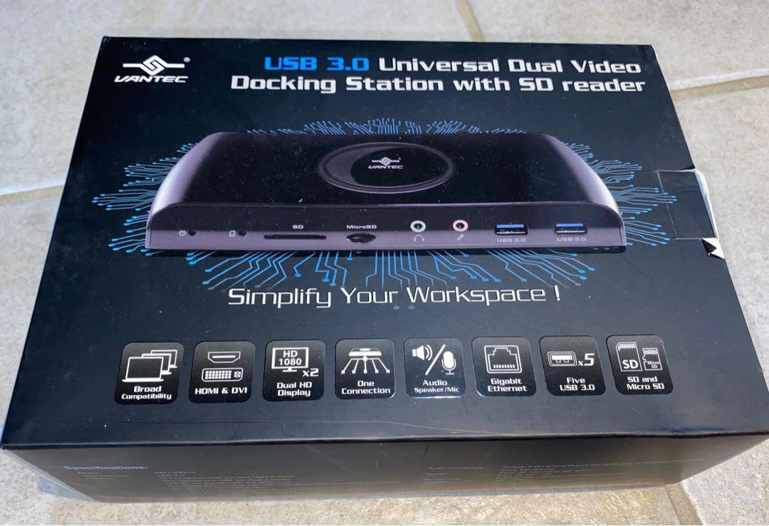 Vantec USB 3.0 Universal Dual Video Docking Station with SD Reader