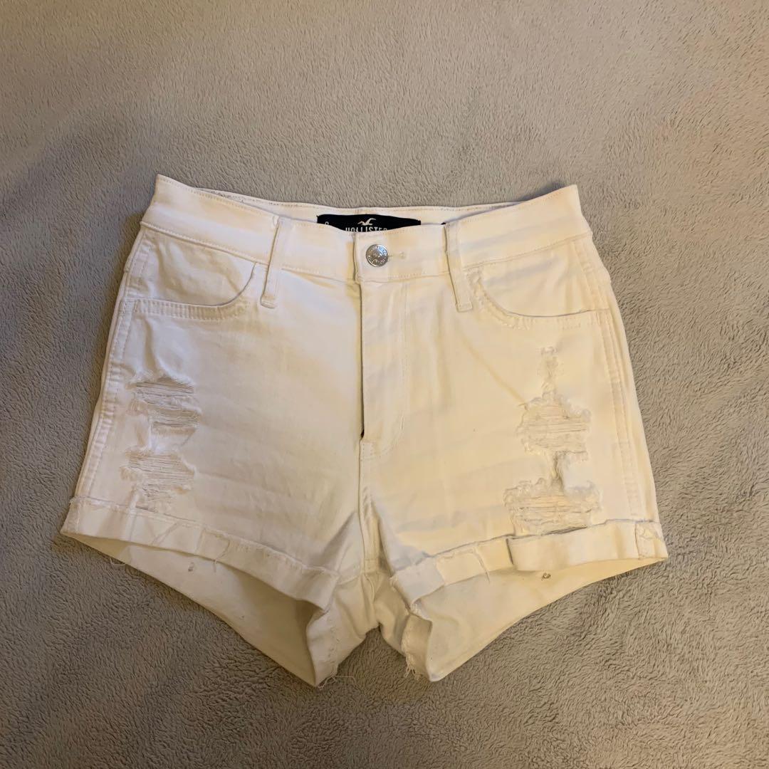 Hollister White Ripped Denim Shorts