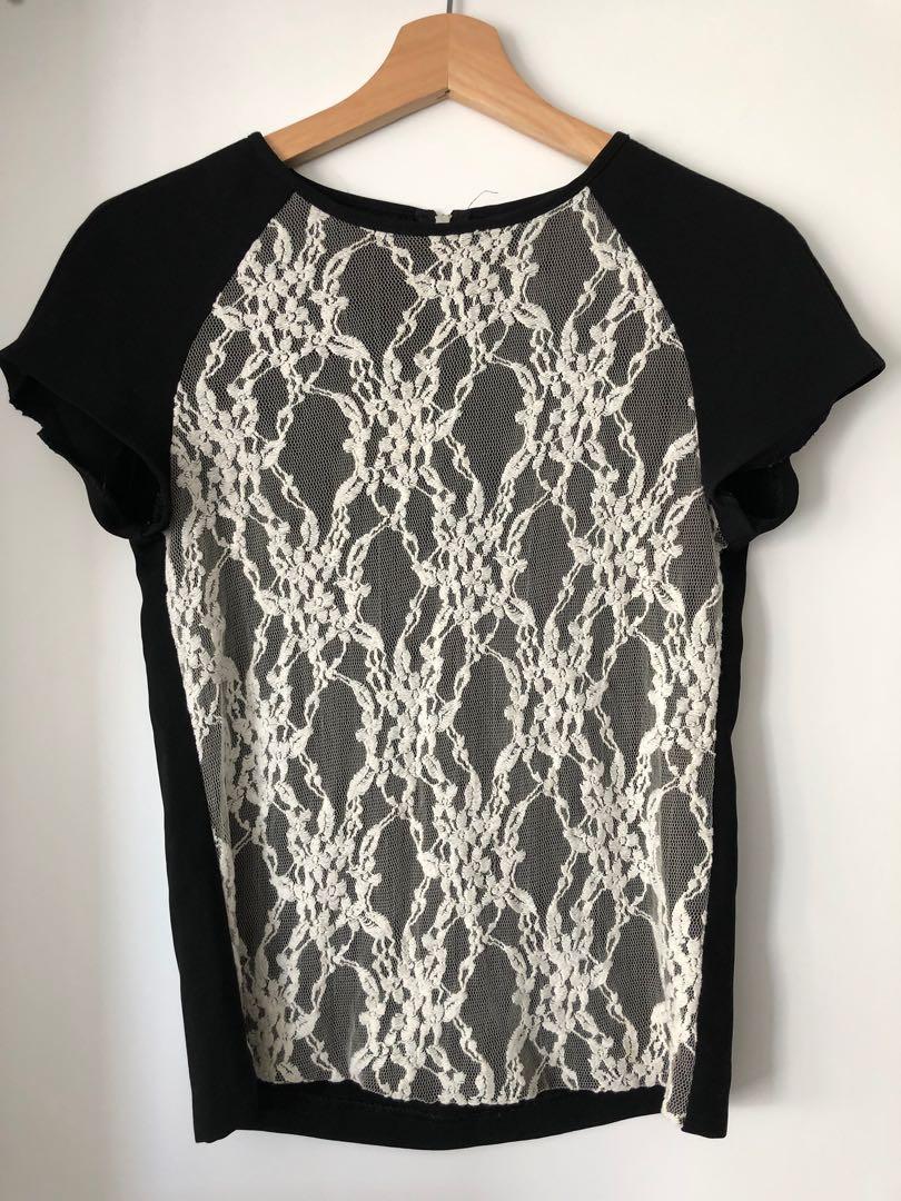 Zara black/white top