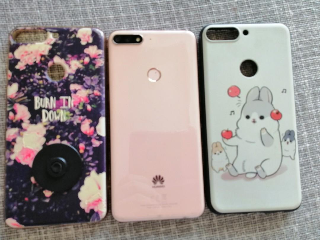 2手華為y7粉色美型手机,附贈2個殼 功能一切正常
