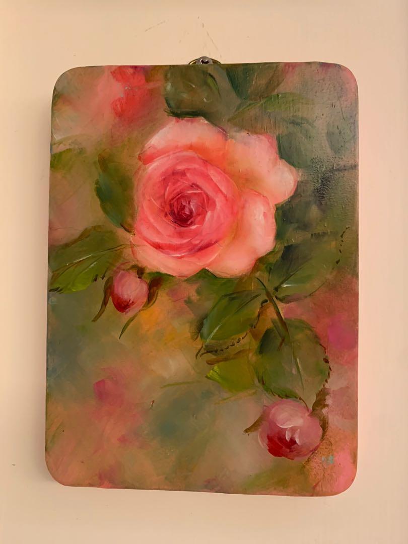 手繪 玫瑰飾板