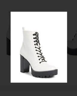Claudia Selewski white combat boots