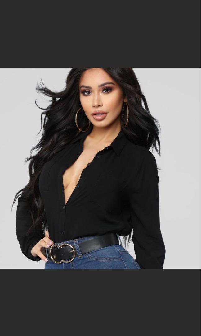 Deep V Classy Black Shirt Fashion Nova