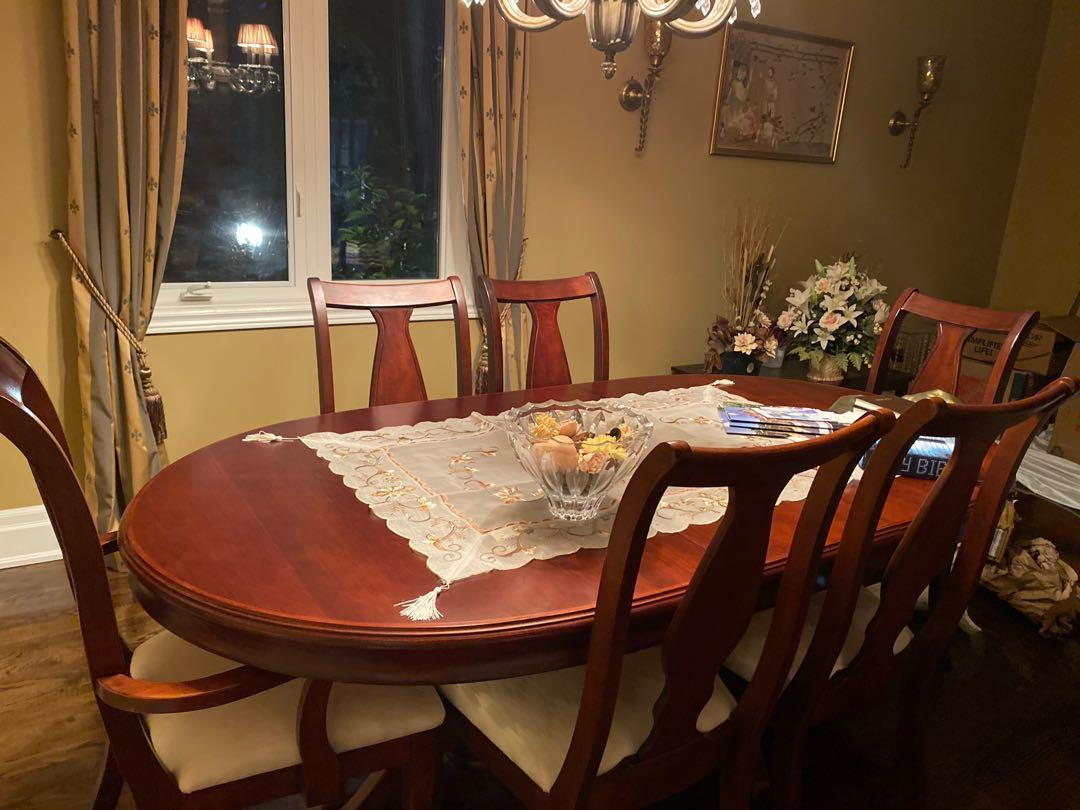 Dinner table, seats six. Real wood, Canadian made