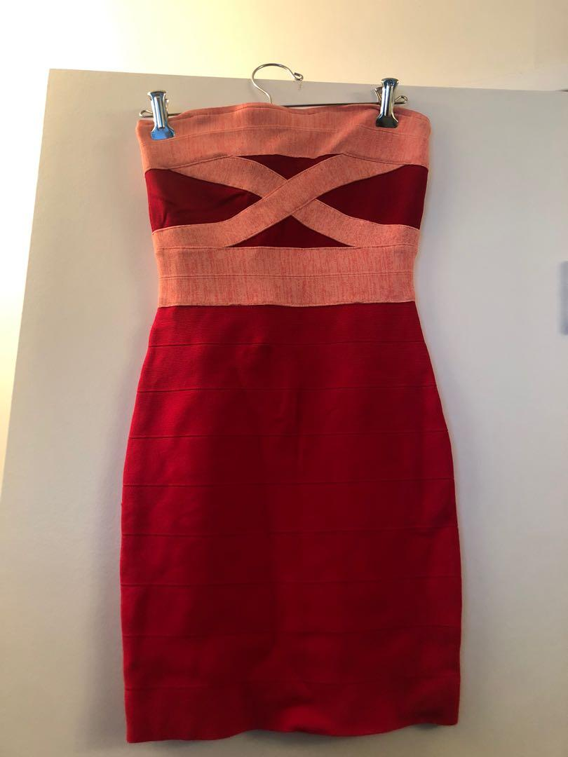 Guess red strapless dress