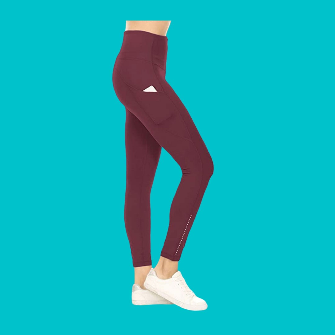 Leggings Depot Yoga Pants Burgundy Sports Athletic Sports Clothing On Carousell