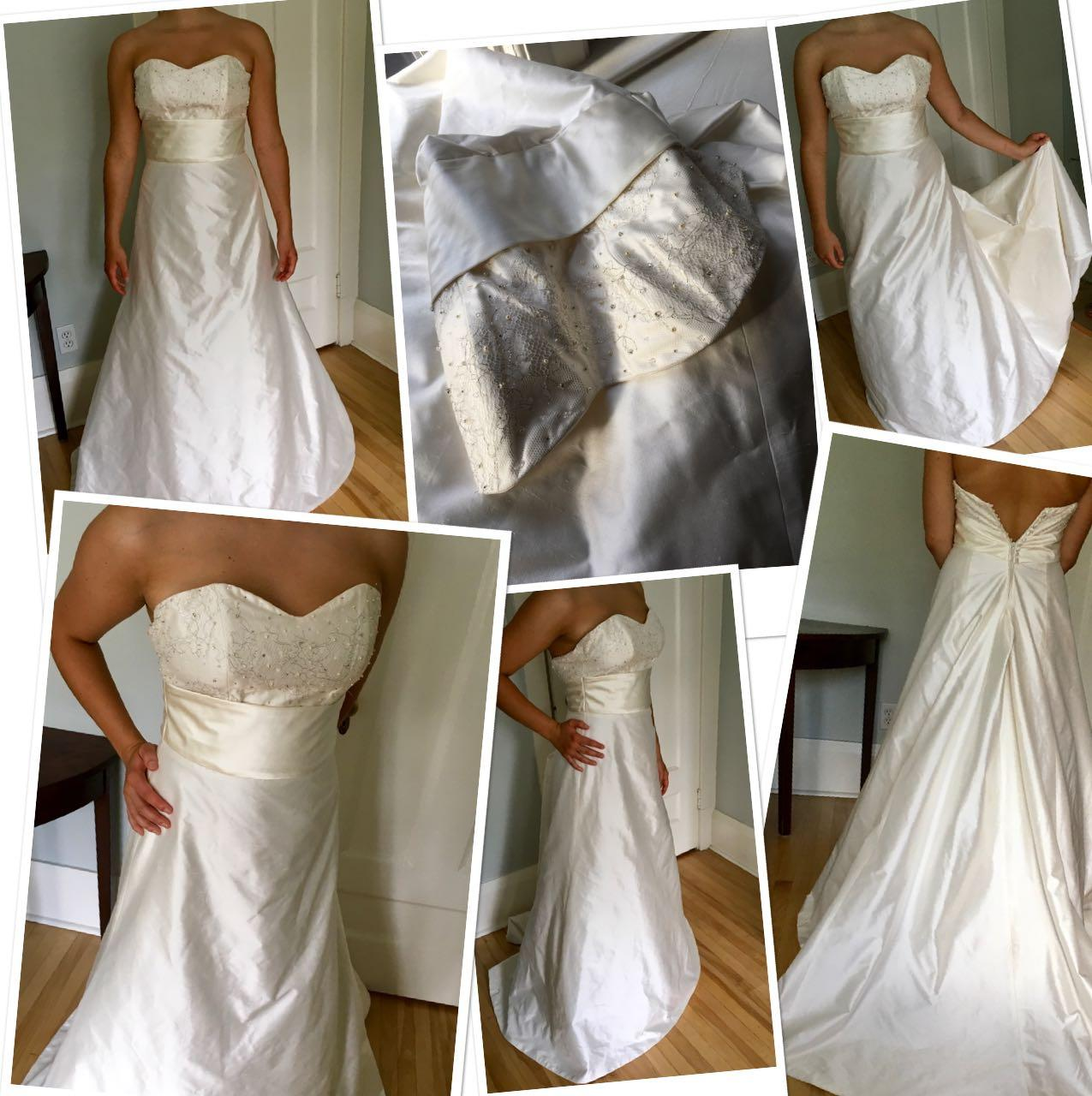 **Never worn /Brand new***Gorgeous CANADIAN MADE 100% SILK creamy white wedding gown with train