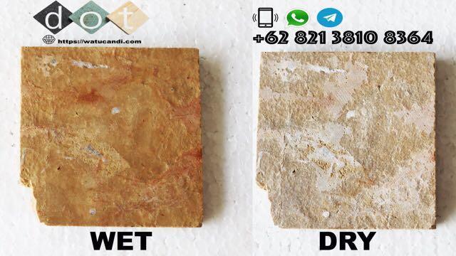 Pacitoroso Batu Alam Natural Stone Tile Gold Yellow flame bakar