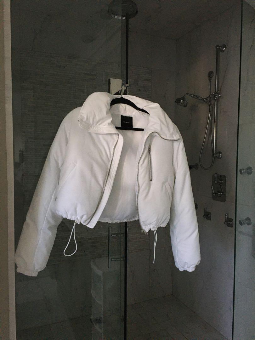 Puffer Bomber Jacket (White)