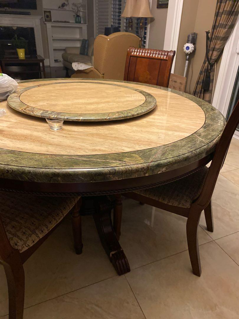 Real Marble dinner table, six chairs. Midsection turns.