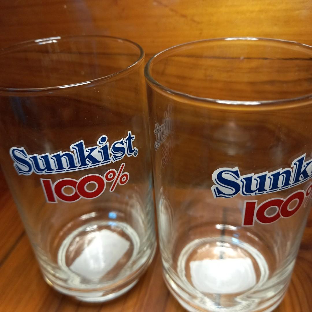 🌅舊物香吉士Sunkist 100% 玻璃杯(兩個)。