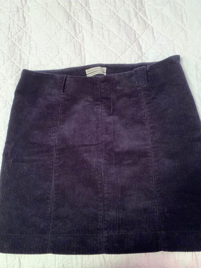 Urban outfitters UO cord skirt in navy size L (8-10)