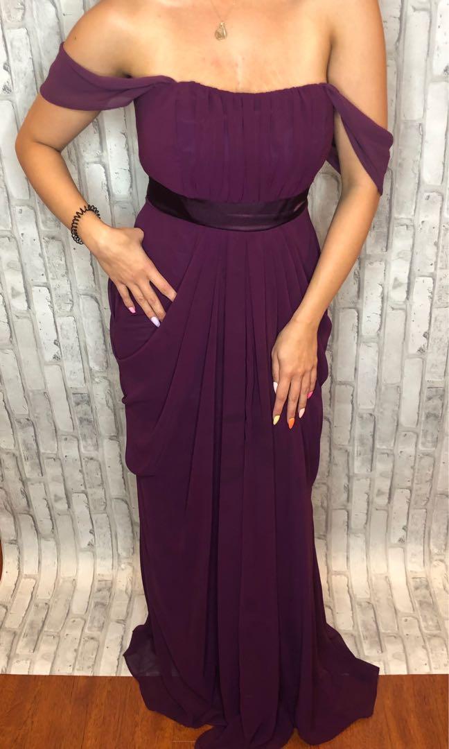 Wine full length evening dress