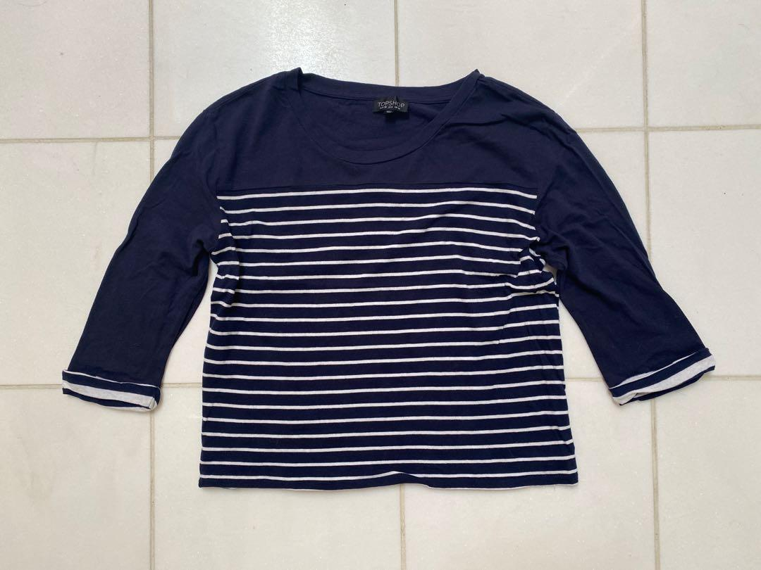 Women's Topshop navy and white stripe shirt