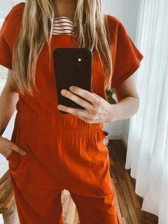 80's Red Cotton Jumpsuit