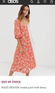 ASOS Design mixed print midi dress