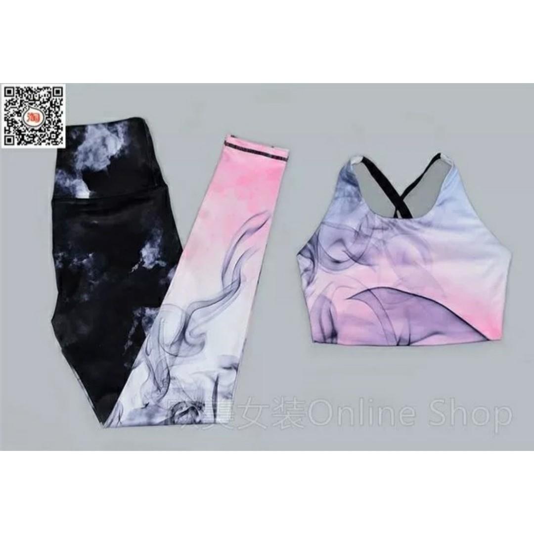 Baju Gym Wanita Pink Gradient Size S