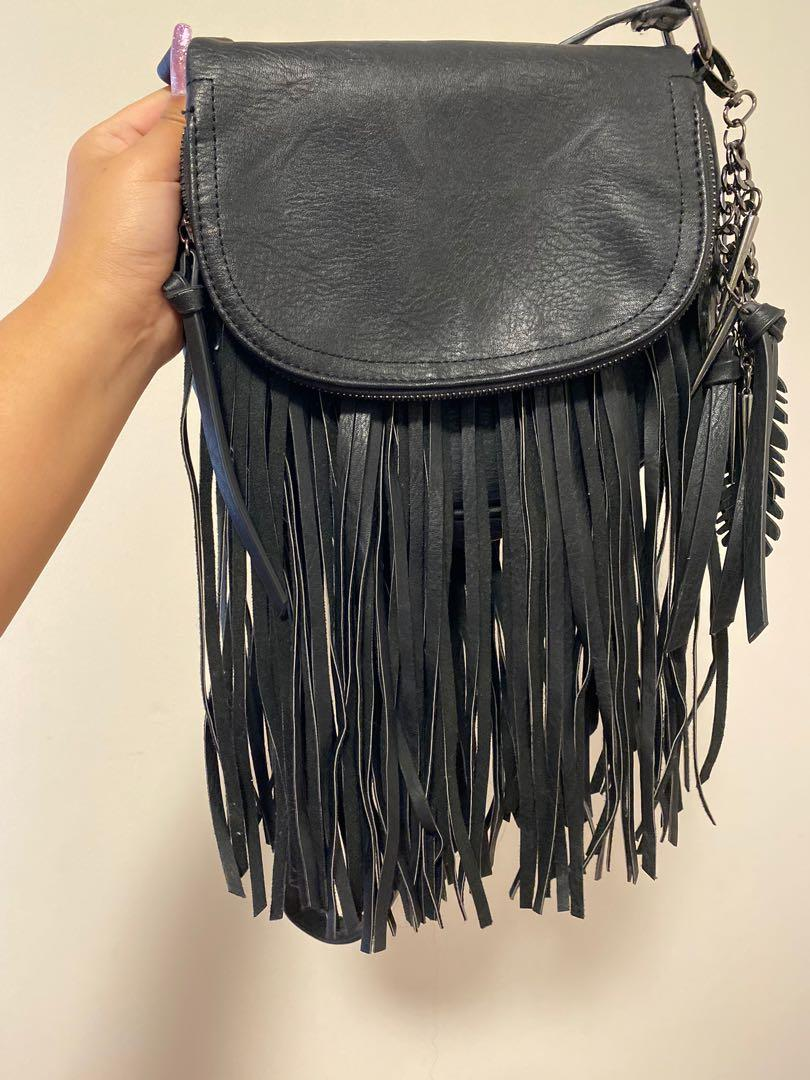 Black Crossbody Fringe Bag