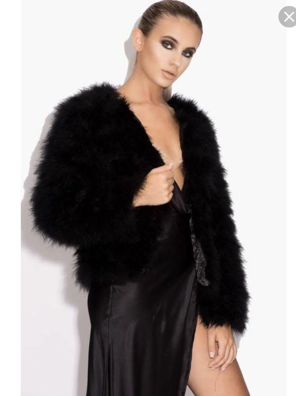 Black feather coat size small