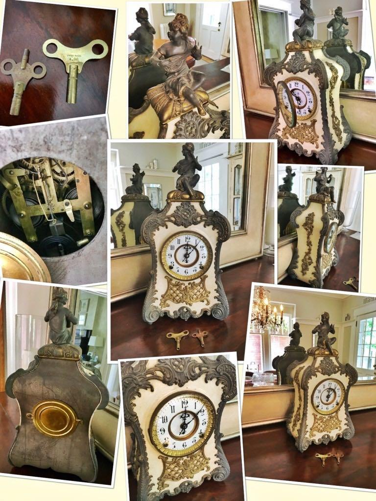 ⭐️EXCELLENT CONDITION 1898, F. Kroeber Clock Co., NY, antique French-style mantel clock⭐️