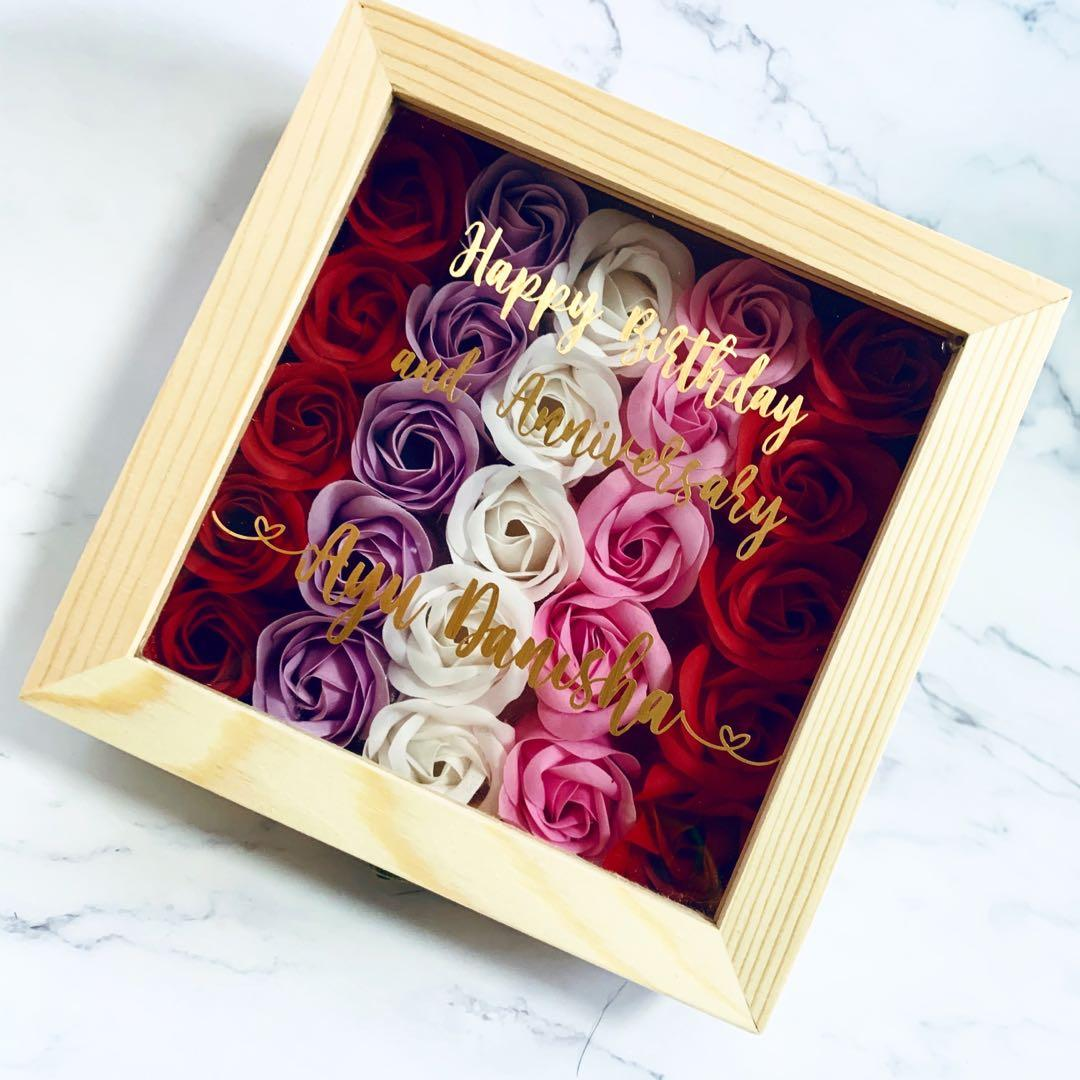 Floral Shadow Box With Storage Design Craft Handmade Craft On Carousell