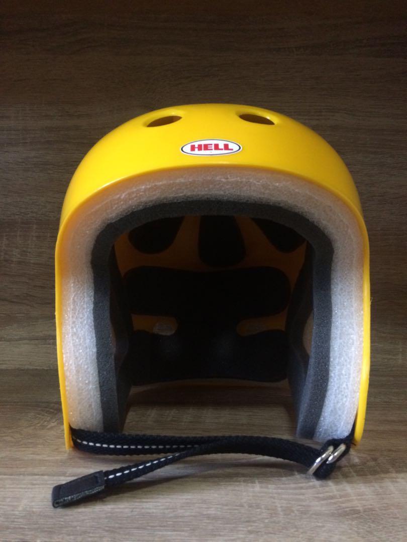 Helm Hell Protec Full Cut Custom Double D Ring Strap Yellow Helmet