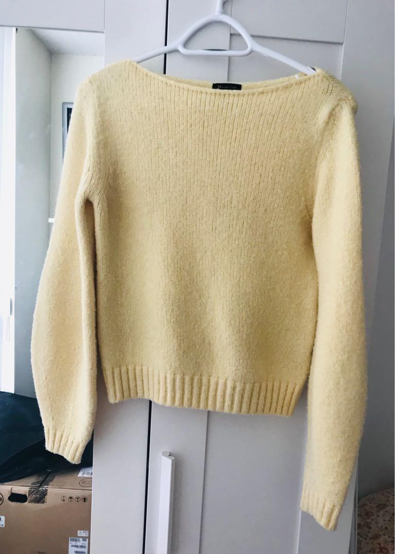Massimo Dutti yellow balloon sleeve sweater size S