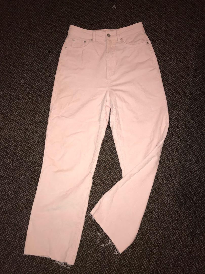 Pink chord pants