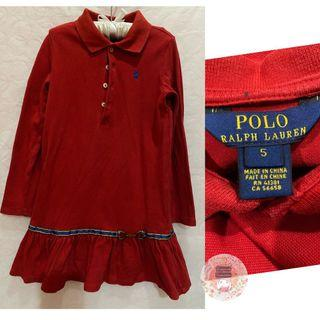 Ralph Lauren Polo Long Sleeved Dress  Euc/ Red (no fading)/ Size 5/