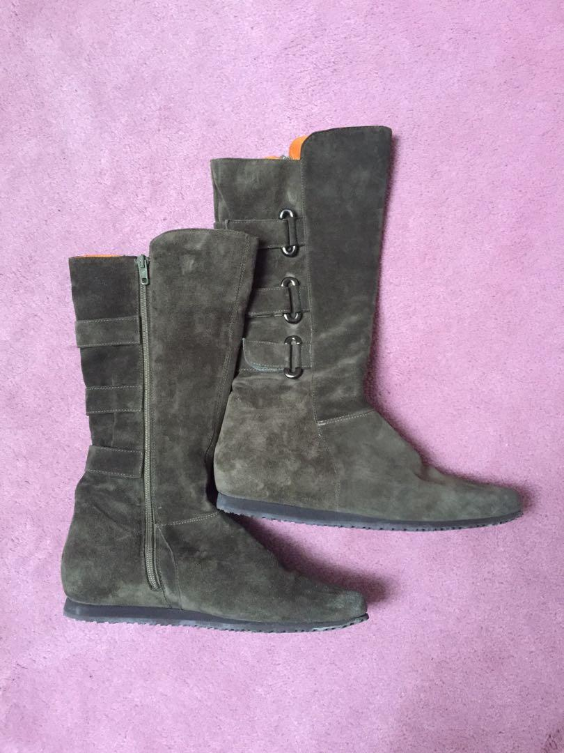 Suede green womens boots size 39
