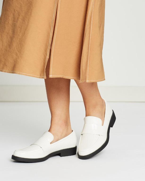 White Croc Loafers