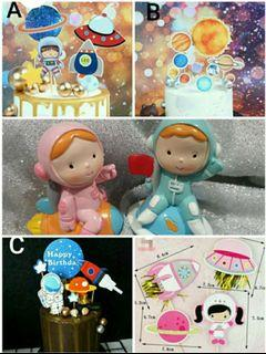 Birthday Party Cake Topper: Astronaut space planet