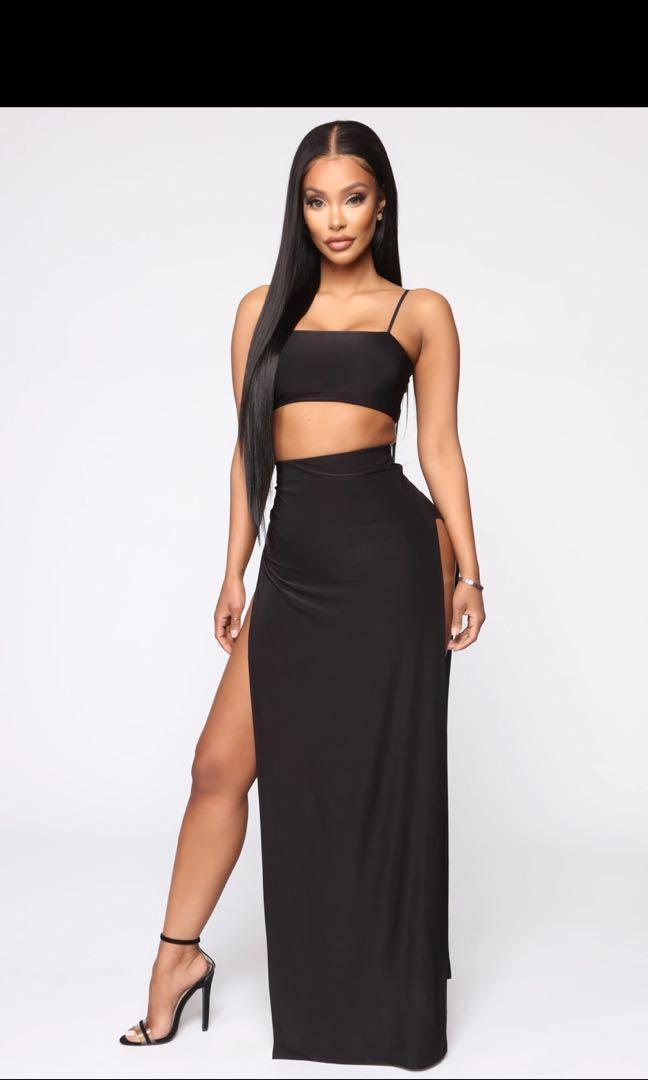 Fashion Nova slit skirt set