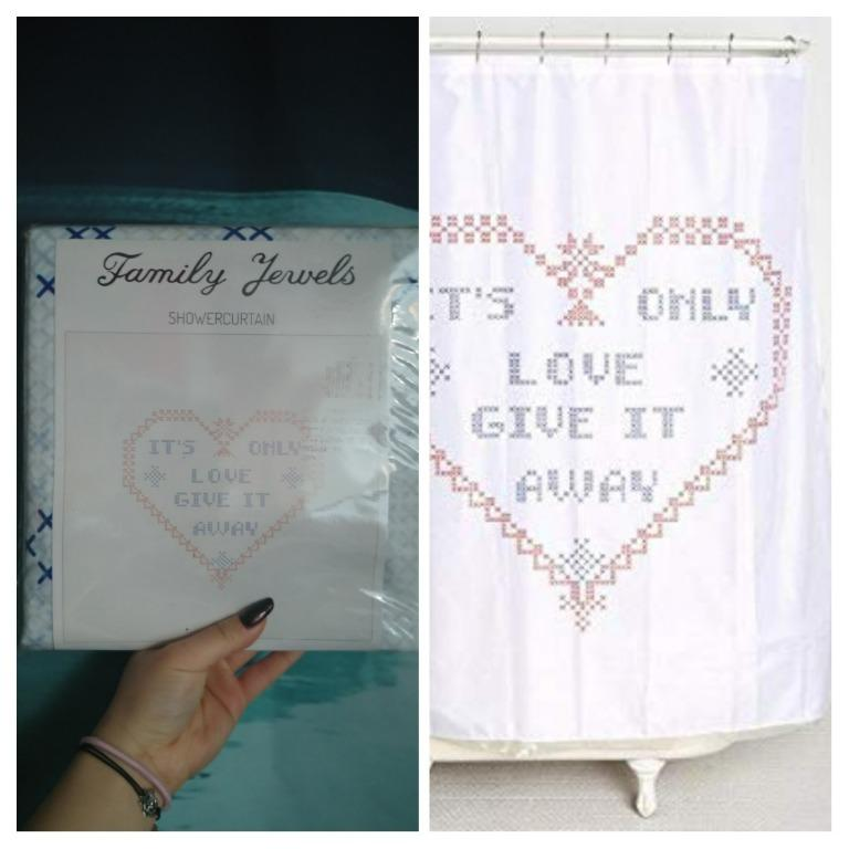 """Urban Outfitters """"It's Only Love, Give It Away"""" Shower Curtain"""